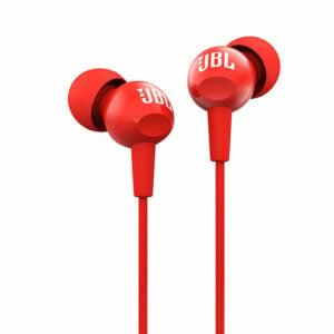 אוזניות אדומות עם מיקרופון JBL C100SI איכותיות שנה אחריות