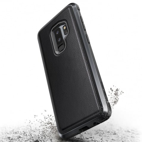 Samsung Galaxy S9 Plus X Doria Black Leather And Aluminium Defense Lux Series Military Grade Drop Tested Mobile Back Cover.jpg