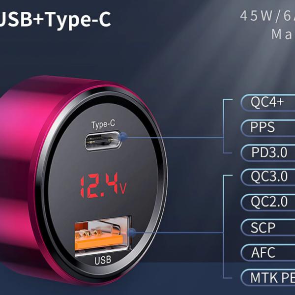 מטען רכב מהיר Quick Charge עם צג דיגטלי 2 יציאות TEYP C