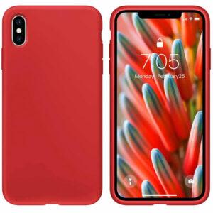 מגן סיליקון אדום לאייפון X/XS מראה אלגנטי רך ונעים למגע