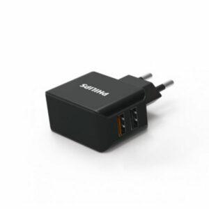 ראש מטען מהיר עם זוג יציאות בהספק 18 וואט תומך QC 3.0 מבית Philips