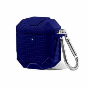 כיסוי סיליקון מחוזק לאיירפודס Airpods עם תופסן לחגורה/מפתחות בצבע כחול כהה