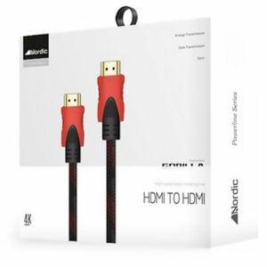 כבל HDMI איכותי באורך 3 מטר התומך בהזרמת תכנים ב-4K מבית Nordic