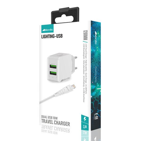 מטען מהיר עם זוג יציאות USB וכבל לאייפון מבית Nordic
