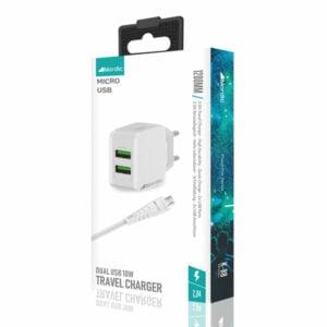 מטען מהיר עם זוג יציאות USB וכבל MicroUSB מבית Nordic