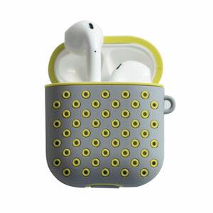 כיסוי סיליקון נקודות לאיירפודס Airpods בצבע אפור/צהוב