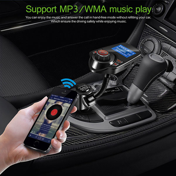 משדר FM בלוטות' לרכב עם דיבורית, זרוע מתכווננת, נגן מוזיקה וטעינה