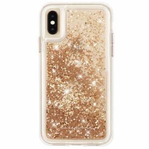 מגן כיסוי לאייפון X/XS מפל נצנצים זהב Case Mate