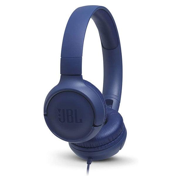 אוזניות JBL Tune 500 עם מיקרופון מובנה וצליל נקי כחול