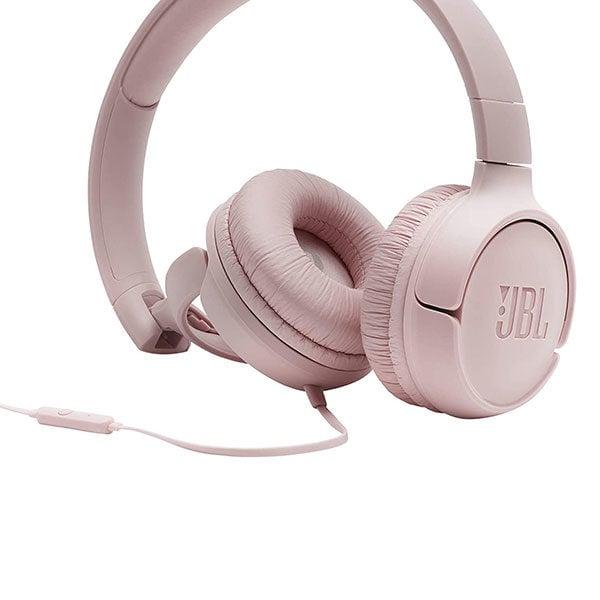 אוזניות JBL Tune 500 עם מיקרופון מובנה וצליל נקי ורוד