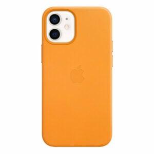 כיסוי עור מקורי לאייפון 12 מיני כתום קליפורניה תומך MagSafe