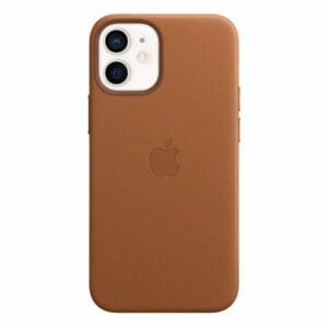 כיסוי עור מקורי לאייפון 12 מיני חום אוכף תומך MagSafe