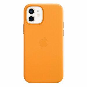 כיסוי עור מקורי לאייפון 12 כתום קליפורניה תומך MagSafe