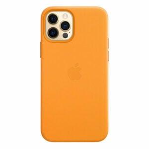 כיסוי עור מקורי לאייפון 12 פרו כתום קליפורניה תומך MagSafe