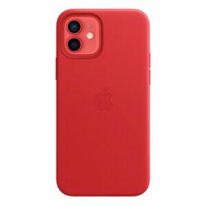 כיסוי עור מקורי לאייפון 12 אדום Product RED תומך MagSafe
