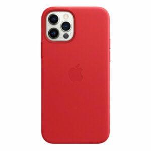 כיסוי עור מקורי לאייפון 12 פרו אדום Product RED תומך MagSafe