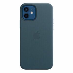 כיסוי עור מקורי לאייפון 12 כחול תומך MagSafe