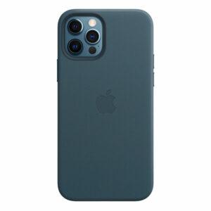 כיסוי עור מקורי לאייפון 12 פרו כחול תומך MagSafe