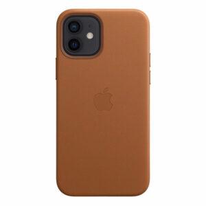 כיסוי עור מקורי לאייפון 12 חום אוכף תומך MagSafe