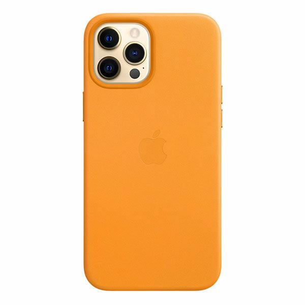 כיסוי עור מקורי לאייפון 12 פרו מקס כתום קליפורניה תומך MagSafe