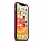 כיסוי מקורי לאייפון 12 בורדו שזיף תומך MagSafe