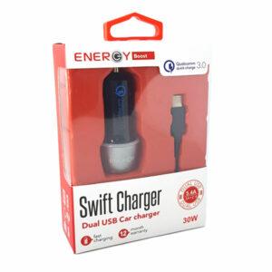 מטען מהיר לרכב עם 2 יציאות וכבל USB-C בהספק 30 וואט Energy