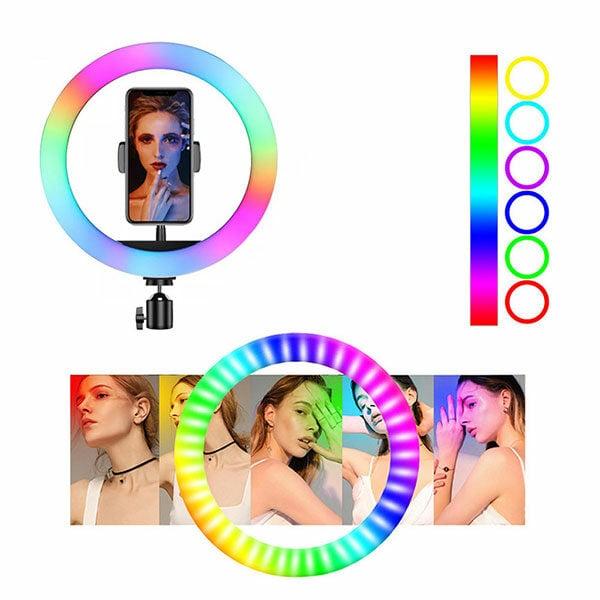"""רינג לייט צבעוני 33 ס""""מ RGB עוצמתי ומתכוונן עם חצובה עד 2 מטר"""