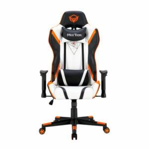כסא גיימינג שחור לבן כתום מתכוונן MeeTion Gaming Chair CHR15