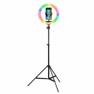 """רינג לייט צבעוני 26 ס""""מ RGB עוצמתי ומתכוונן עם חצובה עד 2 מטר"""