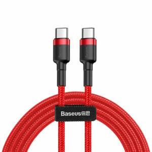 כבל טעינה מחוזק USB Type-C ל-USB Type-C אדום תומך טעינה מהירה Baseus