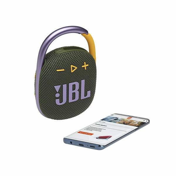 רמקול JBL Clip 4 ירוק עם תופסן משודרג וסאונד חזק