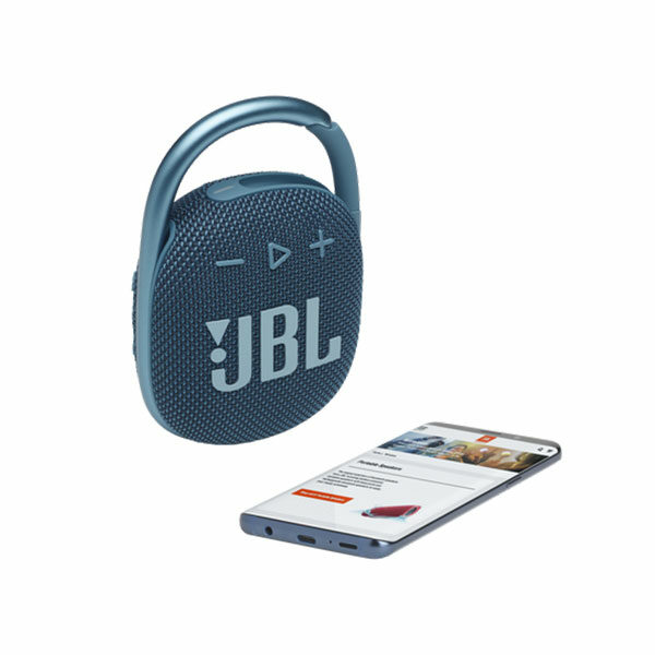 רמקול JBL Clip 4 כחול עם תופסן משודרג וסאונד חזק