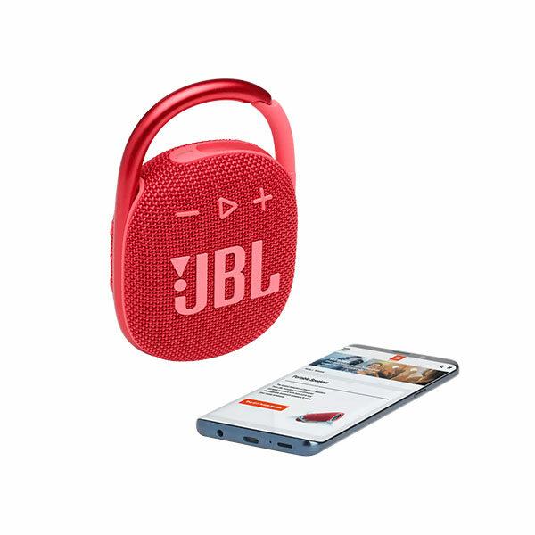 רמקול JBL Clip 4 אדום עם תופסן משודרג וסאונד חזק