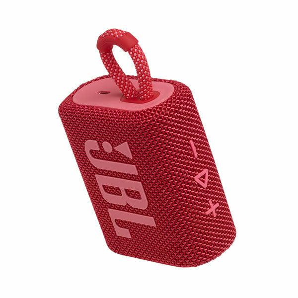 רמקול JBL GO 3 אדום עם מבנה קומפקטי וסאונד עוצמתי יבואן רשמי
