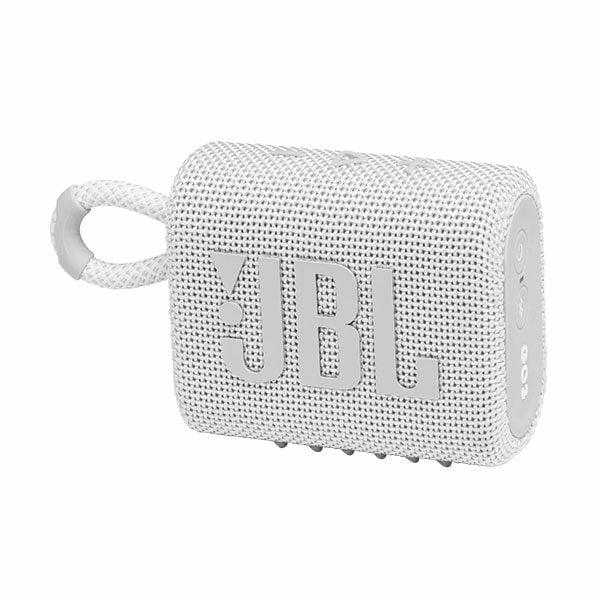 רמקול JBL GO 3 לבן עם מבנה קומפקטי וסאונד עוצמתי יבואן רשמי