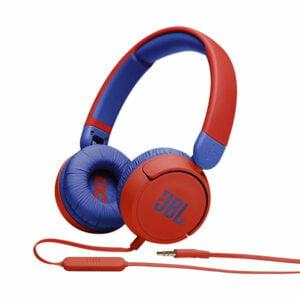 אוזניות קשת לילדים JBL JR310 אדום עם סאונד בטיחותי ומיקרופון מובנה