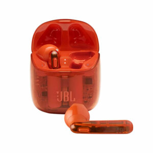 אוזניות אלחוטיות JBL Tune 225 TWS שקוף כתום עם חיי סוללה ארוכים