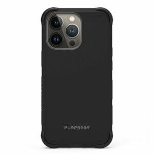 כיסוי לאייפון 13 פרו שחור חזק עם במפרים בולמי זעזועים PureGear DualTek