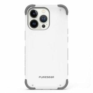 כיסוי לאייפון 13 פרו לבן חזק עם במפרים בולמי זעזועים PureGear DualTek