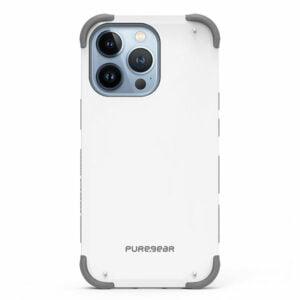 כיסוי לאייפון 13 פרו מקס לבן חזק עם במפרים בולמי זעזועים PureGear DualTek