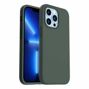 כיסוי לאייפון 13 פרו מקס סיליקון ירוק כהה עם מגע קטיפה