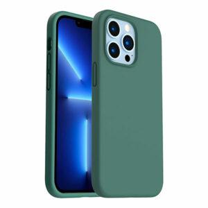 כיסוי לאייפון 13 פרו מקס סיליקון ירוק עם מגע קטיפה