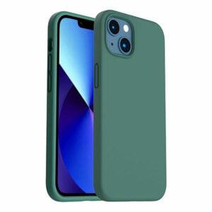 כיסוי לאייפון 13 מיני סיליקון ירוק עם מגע קטיפה
