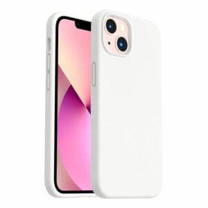 כיסוי לאייפון 13 מיני סיליקון לבן עם מגע קטיפה