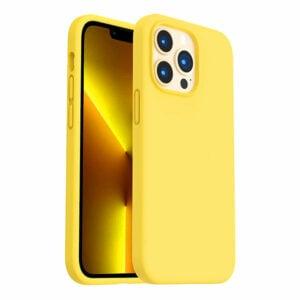 כיסוי לאייפון 13 פרו מקס סיליקון צהוב עם מגע קטיפה