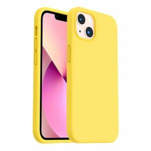 כיסוי לאייפון 13 מיני סיליקון צהוב עם מגע קטיפה