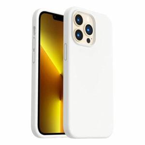 כיסוי לאייפון 13 פרו סיליקון לבן עם מגע קטיפה