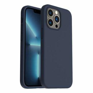כיסוי לאייפון 13 פרו סיליקון כחול כהה עם מגע קטיפה