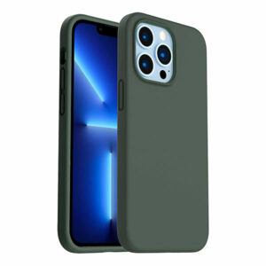 כיסוי לאייפון 13 פרו סיליקון ירוק כהה עם מגע קטיפה