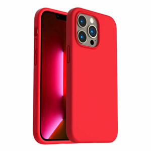 כיסוי לאייפון 13 פרו סיליקון אדום עם מגע קטיפה